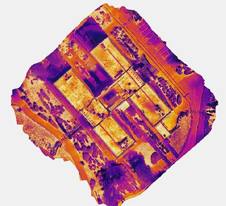 Orthophotographie thermique toit bâtiment