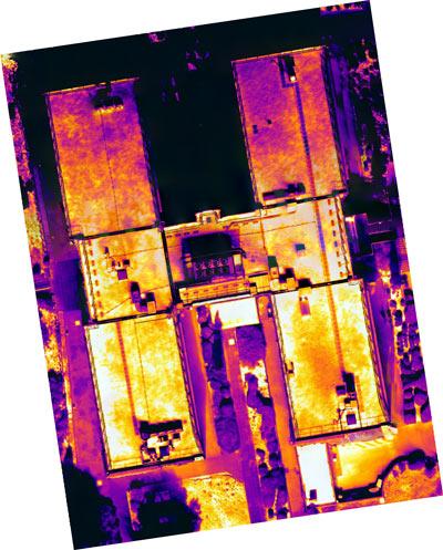 Orthomosaïque thermique toit bâtiment